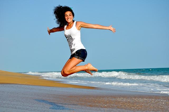 výskok na pláži