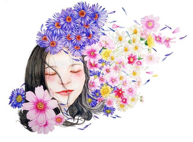 dívka s květinami